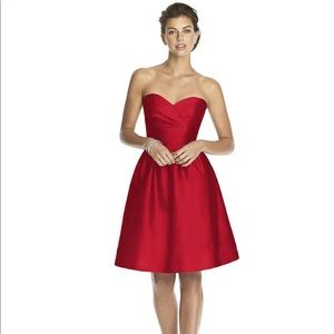 ALFRED SUNG Strapless Formal Cocktail Dress Red 10